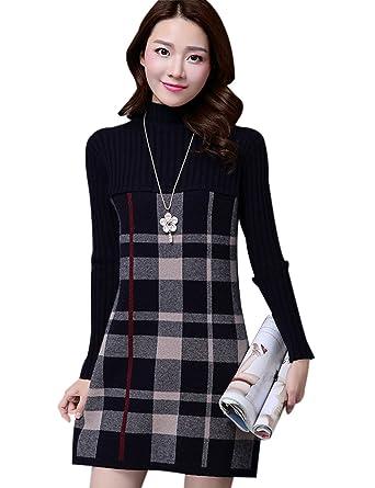 c97e6bd27c Yeokou Women s Long Sleeve Turtleneck Plaid Pullover Mini Short Sweater  Dress at Amazon Women s Clothing store