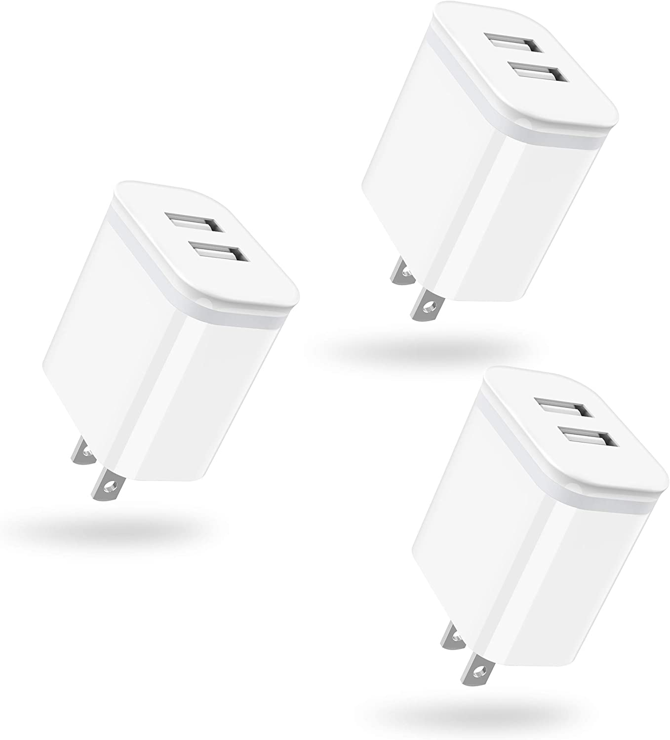 USB Wall Charger, DECIPA 3-Pack 2.1A/5V Dual Port USB Block Power Adapter Charger Plug Charging Cube Replacement for iPhone Xs Max XR X 8/7/6 6S Plus 5S, Samsung, LG, HTC, Moto, Android, Cell Phone