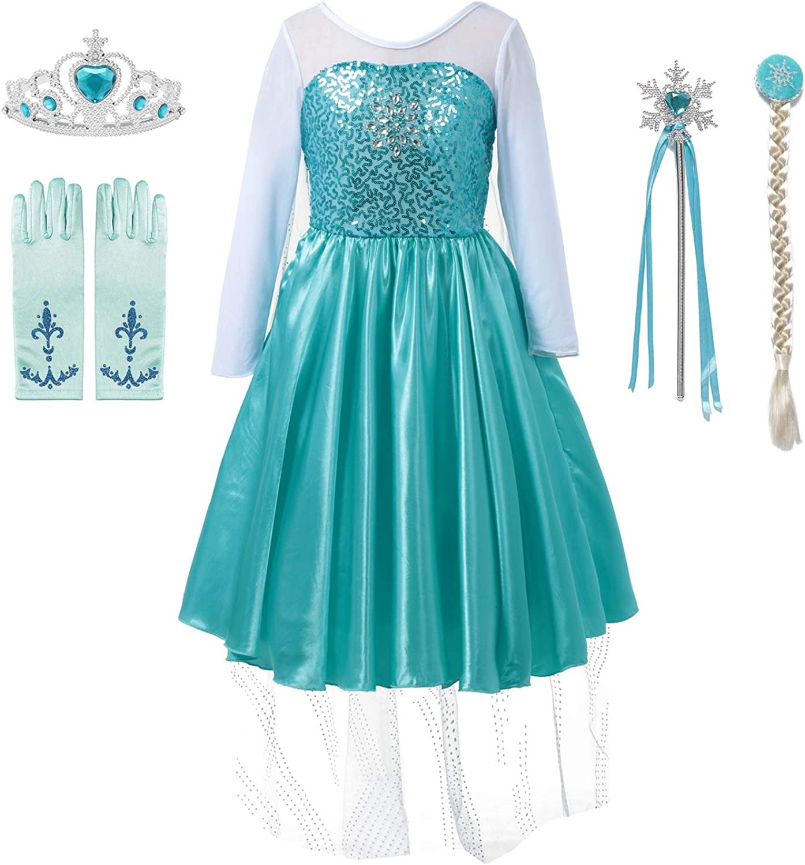 DOCHEER Snow Princess Costume Toddler Girls Queen Sequins Dress Up for Halloween Party