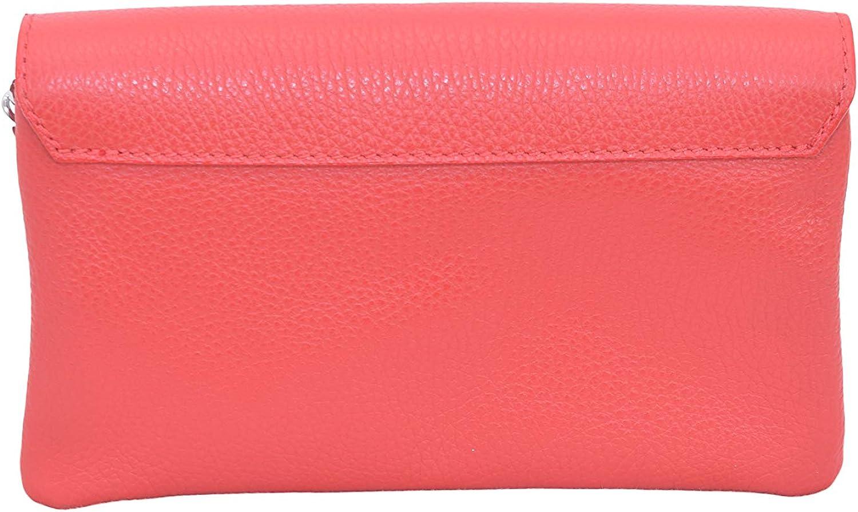 A to Z Leather Pochette compatta con due scomparti con cerniera e una lunga catena staccabile in argento Rosso