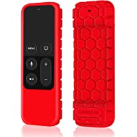 Fintie Protective Case for Apple TV 4K / 4th Gen Remote - Casebot [Honey Comb Series] Light Weight [Anti Slip] Shock Proof Silicone Cover for Apple TV 4K Siri Remote Controller (Red)