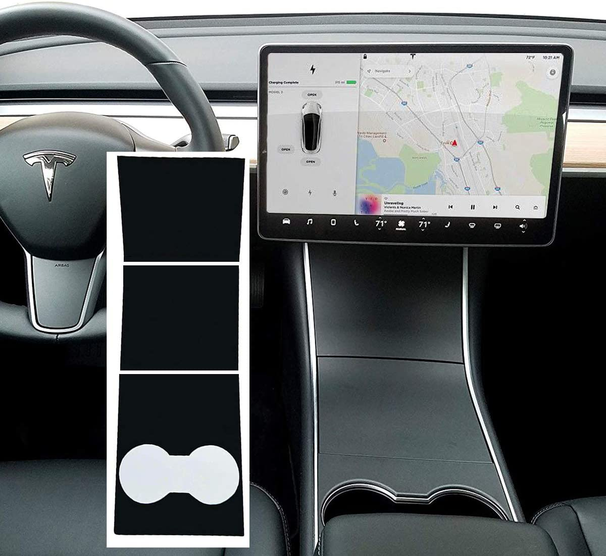 For Tesla Model 3 Carbon Fiber Car Center Console Dashboard Vinyl Wrap Stickers