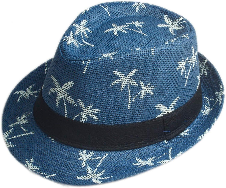 Children Summer Straw Sun hat Kids Boho Beach hat Trilby Panama Hat Handwork for boy Girl Gangster Cap