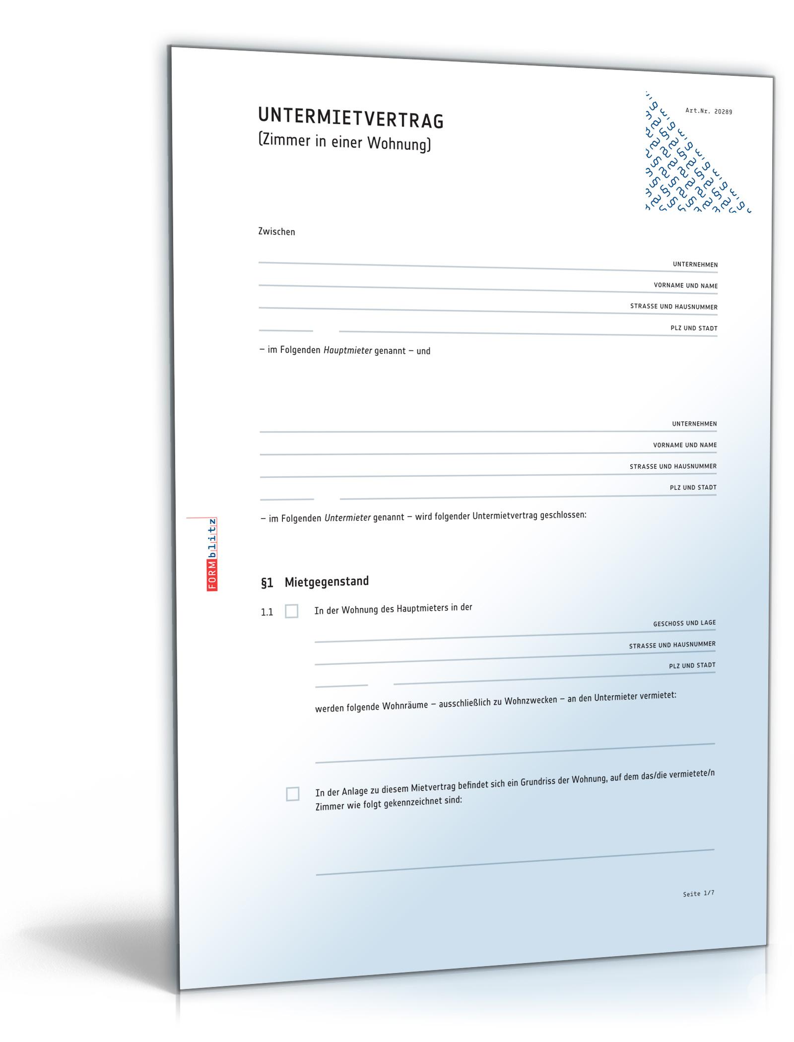 Untermietvertrag Zimmer [PDF Download]: Amazon.de: Software