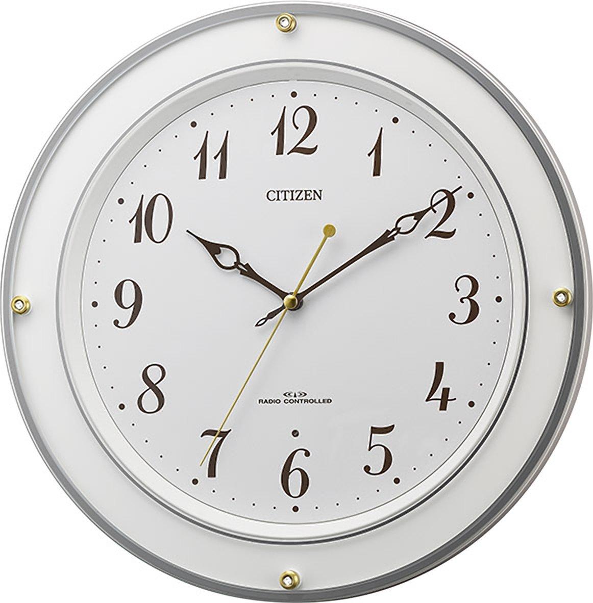シチズン 掛け時計 電波 アナログ M518 連続秒針 クリスタル 飾り 白 CITIZEN 8MY518-003 B01N6GN7L4