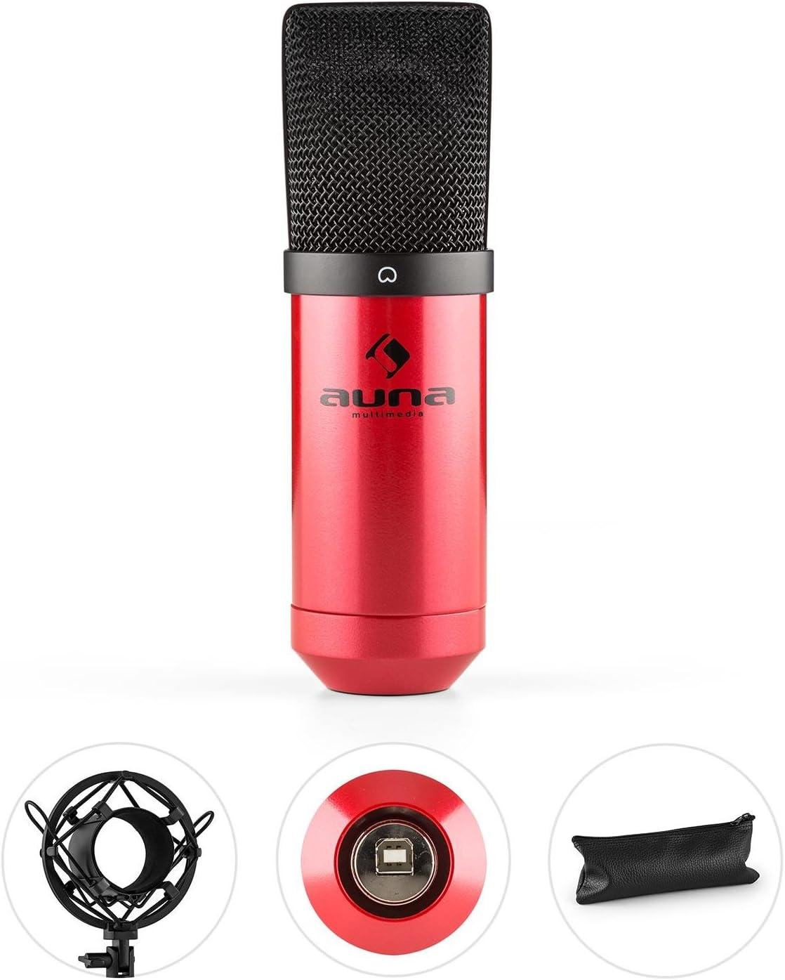USB-Mikrofon Adapter Kondensatormikrofon mit Schwenkarm und Tisch-Mikrofonhalterung Mikrofonhalter auna MIC-900B 320Hz-18KHz Mikrofonspinne 3//8 zu 5//8 Studio Mikrofon Set schwarz