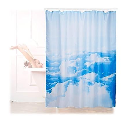 Relaxdays Cortina Baño Lavable con Estampado de Nubes, Poliéster, Blanco-Azul 180 x