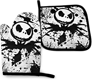 Happy Daddy 1 Cotton Kitchen Oven Mitt Gloves 11 x 7.5 and 1 Potholder 8 x 8 Kitchen Gift Set, Machine Washable and Heat Resistant for Safe BBQ,Cooking, Baking, (The Nightmare Before Christmas)