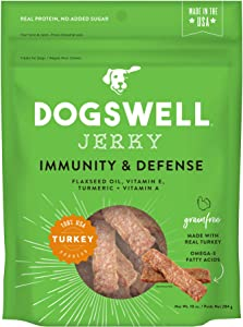 DOGSWELL 100% Meat Jerky Treats for Dogs, Made in The USA with Vitamins & Turmeric for Healthy Aging