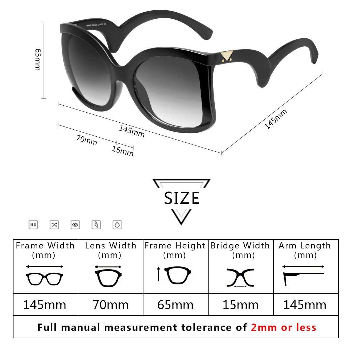 RAYSUN Sunglasses for Women Oversized Square Sunglasses Multi Tinted Frame Fashion Modern Shades 100% UV Protection Eyewear