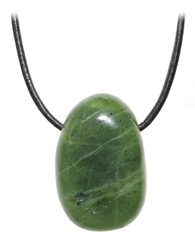 Kaltner Präsente Unisex collar con colgante de Jade piedra piedrapreciosa tambor de