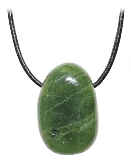 a18f8dc0f55c Kaltner Präsente Unisex-Collar con Colgante de Jade Piedra piedrapreciosa  Tambor de Canadá en el
