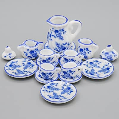 Odoria 1:12 Miniature 15PCS Blue Porcelain Tea Cup Set Blue Chintz Dollhouse Kitchen Accessories: Toys & Games