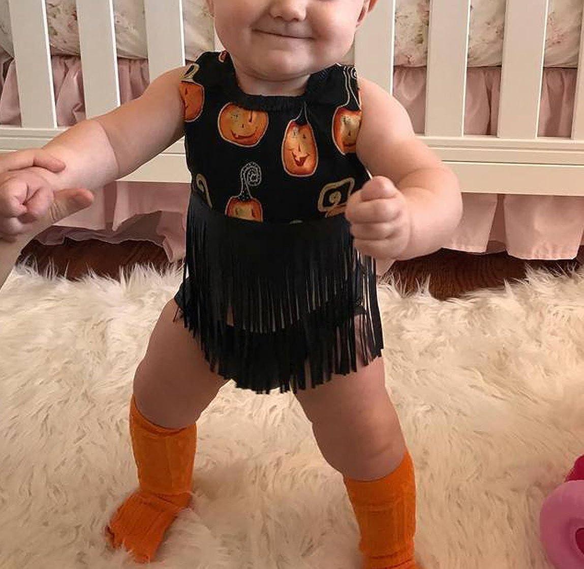 2Pcs Baby Halloween Outfit Set Newborn Infant Girls Sleeveless Backless Halter Pumpkin Tassels Tank Tops Orange Shorts