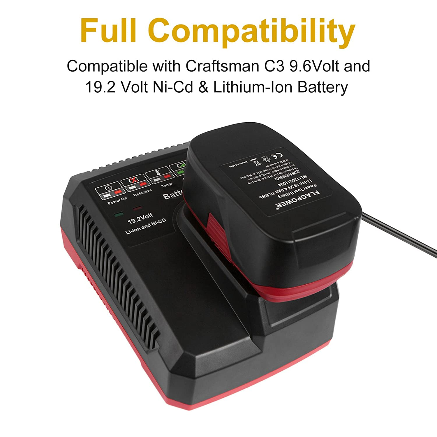 FLAGPOWER Li ion & Ni cad Battery Charger 19 2V MAX For Craftsman C3 DieHard XCP pact battery Amazon