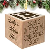 Baby's First Christmas Ornament 2017 - Keepsake Personalized Baby Block Custom Engraved Wooden for Newborn Infant Boy, Girl, Mom, Dad, Grandparent 2016 2018 1st gift Date by Glitzby