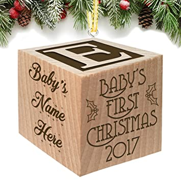 Amazon babys first christmas ornament 2017 keepsake babys first christmas ornament 2017 keepsake personalized baby block custom engraved wooden for newborn infant negle Image collections