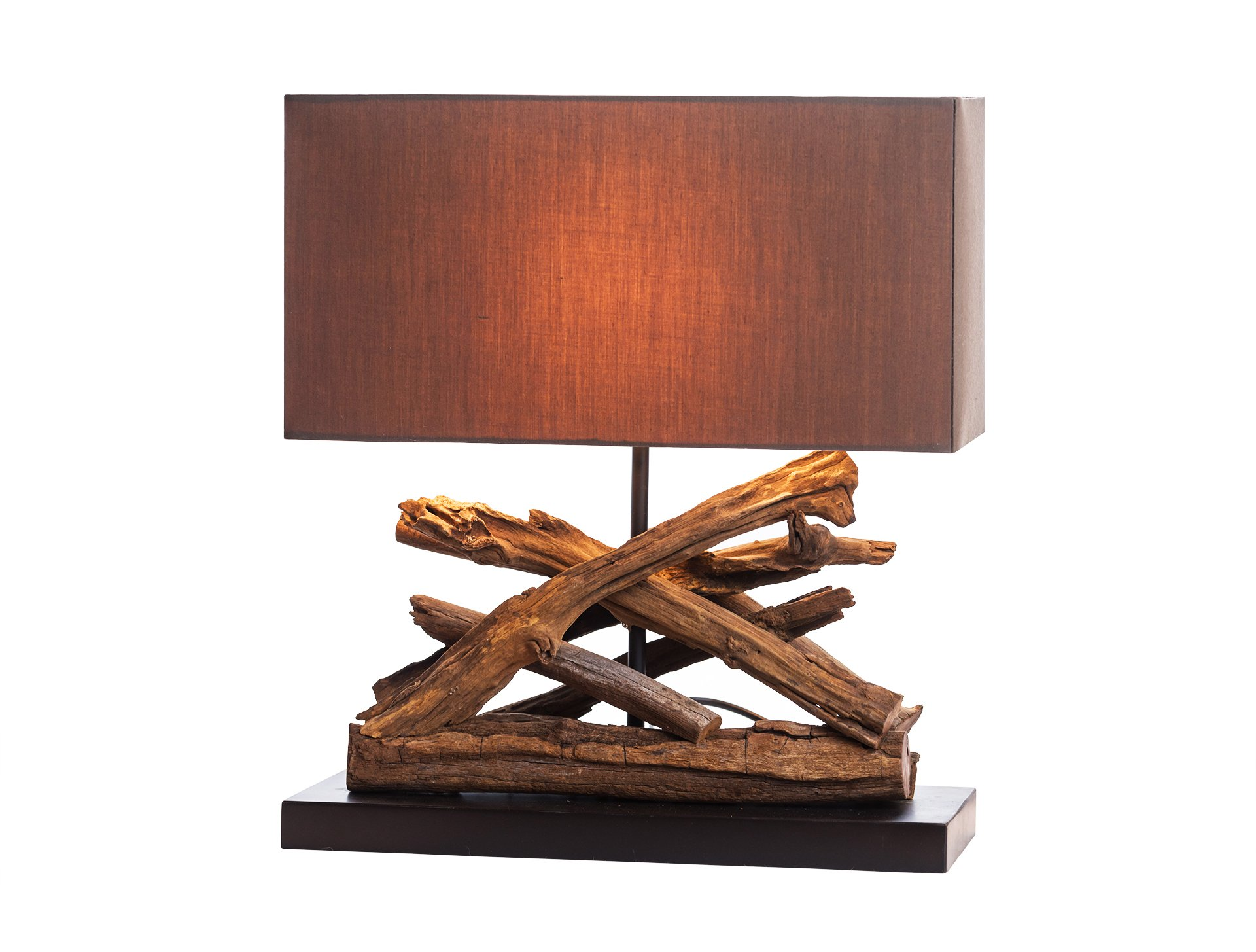 O'THENTIQUE Driftwood Branch Table Lamp | Rustic Salvaged Natural Wood | Brown Shade Perfect as Entry Table Lamp, Sofa Table Lamp for Beach House, Cottage, Cabin, Bedroom, Living Room Decoration