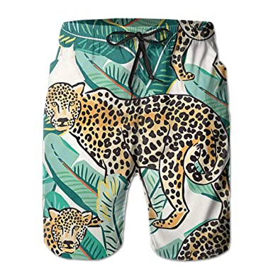3c0fa02da5 Amazon.com: Cheetah Blue Jaguar Animal Men's Summer Casual Shorts Beachwear  Sports Swimming Short Trunks Quick Dry Surfing Shorts: Clothing