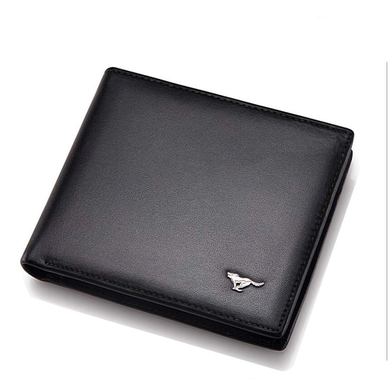 mens business mens pure leather. leather send daddy wallet Wallet short folding middle-aged students Color : Coffee, Size : Short section