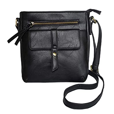 b30fc6154f39 FanCarry Women s Small Front Flap Solid Crossbody Purse Shoulder Bag Travel  Satchel (Black-2