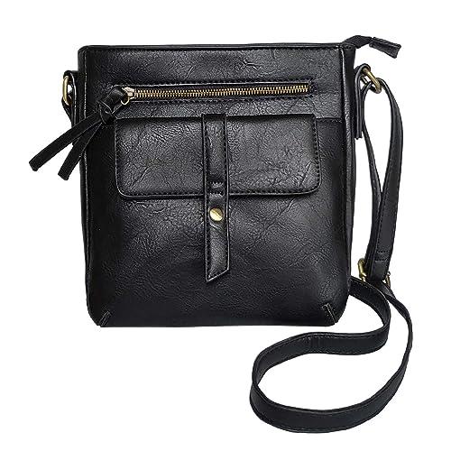 b6f802173172c FanCarry Women's Small Front Flap Solid Crossbody Purse Shoulder Bag Travel  Satchel (Black-2