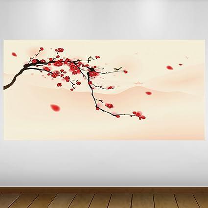 EXTRA GRANDE Red árbol de cerezo de Japón Vinilo Póster - Mural Decoración - etiqueta de