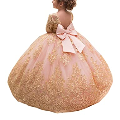 b648656a39e5 Amazon.com: SHENLINQIJ Lace Half Sleeve Pink Flower Girl Dresses Gold Ball  Gowns For Special Occasions: Clothing