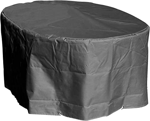 GREEN CLUB Housse de Protection Table Ovale de Jardin Haute qualité  Polyester L 250 xl 110 xh 70 cm Couleur Anthracite
