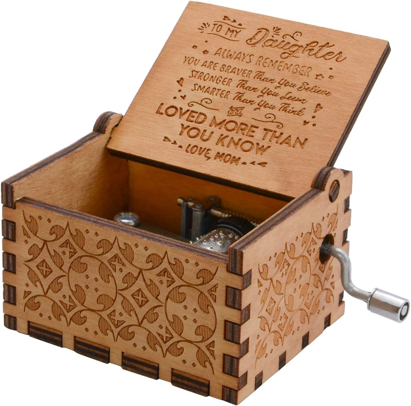 Mom Granddaughter Wood Laser Engraved Vintage Wooden Musical Box Gifts for Wife FerDIM Music Boxes Dad to Daughter Style1 Son Daughter Wedding Anniversary//Birthday//Christmas//Valentines Day
