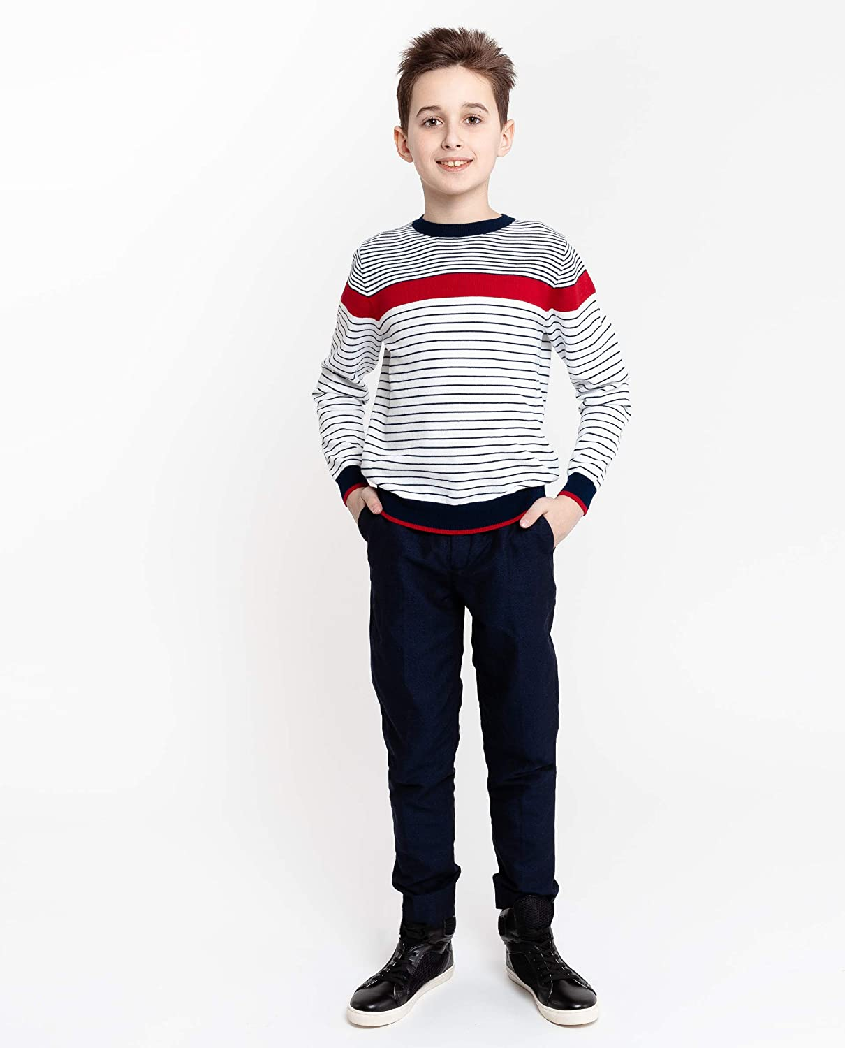Long Sleeve Regular Fit Round Neck Knitwear Colour White with Navy Blue Red Stripes Cotton for 8-13 Years Casual GULLIVER Teen Boy Sweater