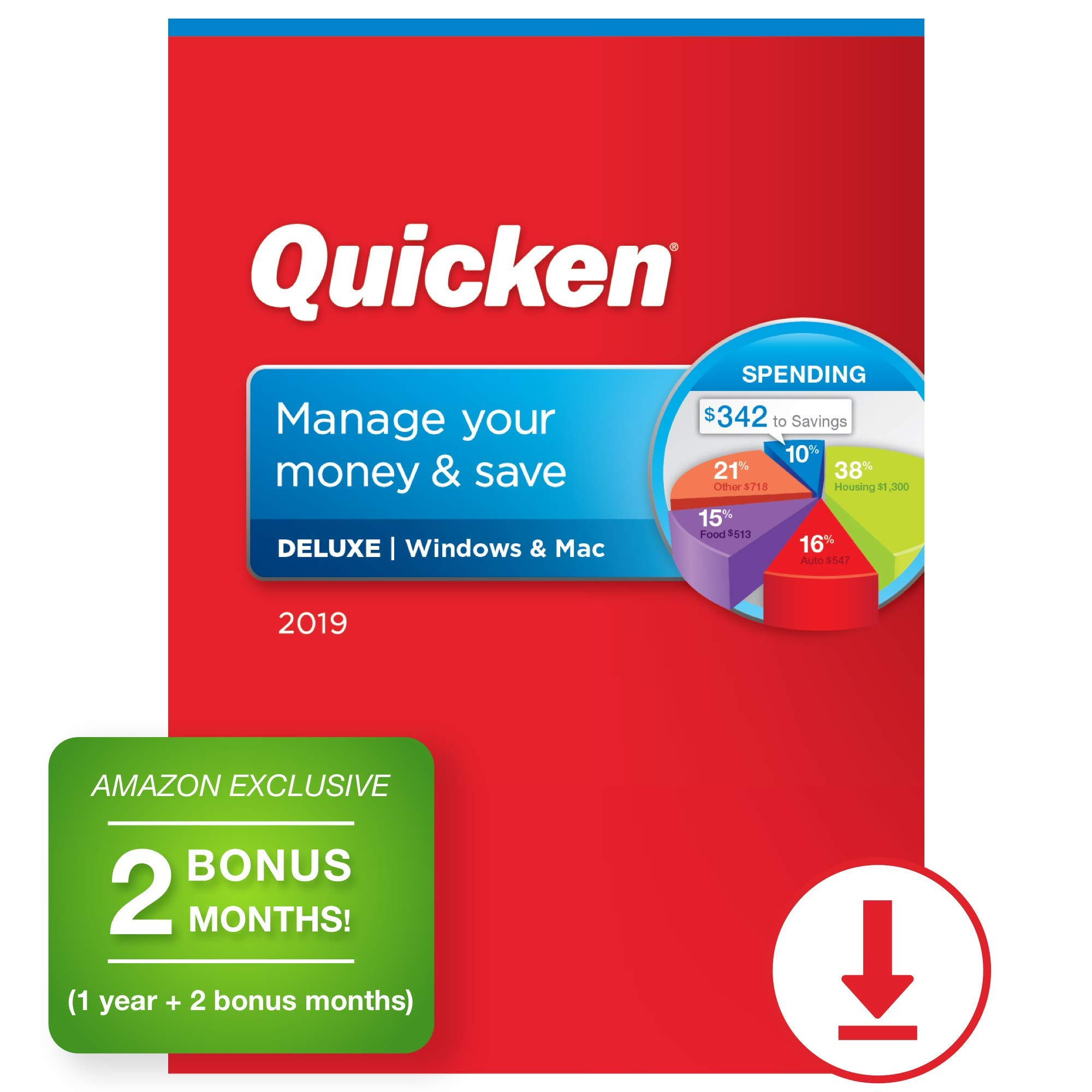 Quicken Deluxe 2019 Personal Finance & Budgeting Software [PC/Mac Download] 1-Year Subscription + 2 Bonus Months [Amazon Exclusive] by Quicken