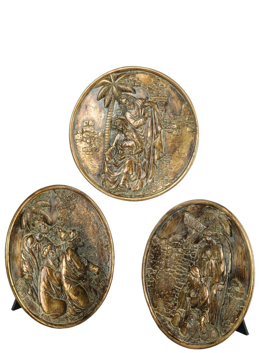 Sullivans Hanging Wall or Tabletop Artwork, Three Wise Men and Holy Family Nativity Plaques, 7.5'' Each, Burnished Gold, Set of 3 (PR2398)