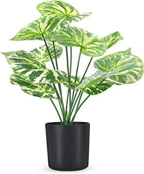 Amazon Com Fake Potted Plants 15 Large Artificial Plants For Home Office Decor Faux Potted Plants Used For Desk Top Decor Green Begonia Furniture Decor