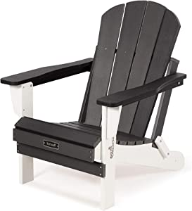 SERWALL Folding Adirondack Chair Patio Chairs Lawn Chair Outdoor Chairs Painted Adirondack Chair Weather Resistant- Black & White Ideal for Lawn, Garden, Firepit