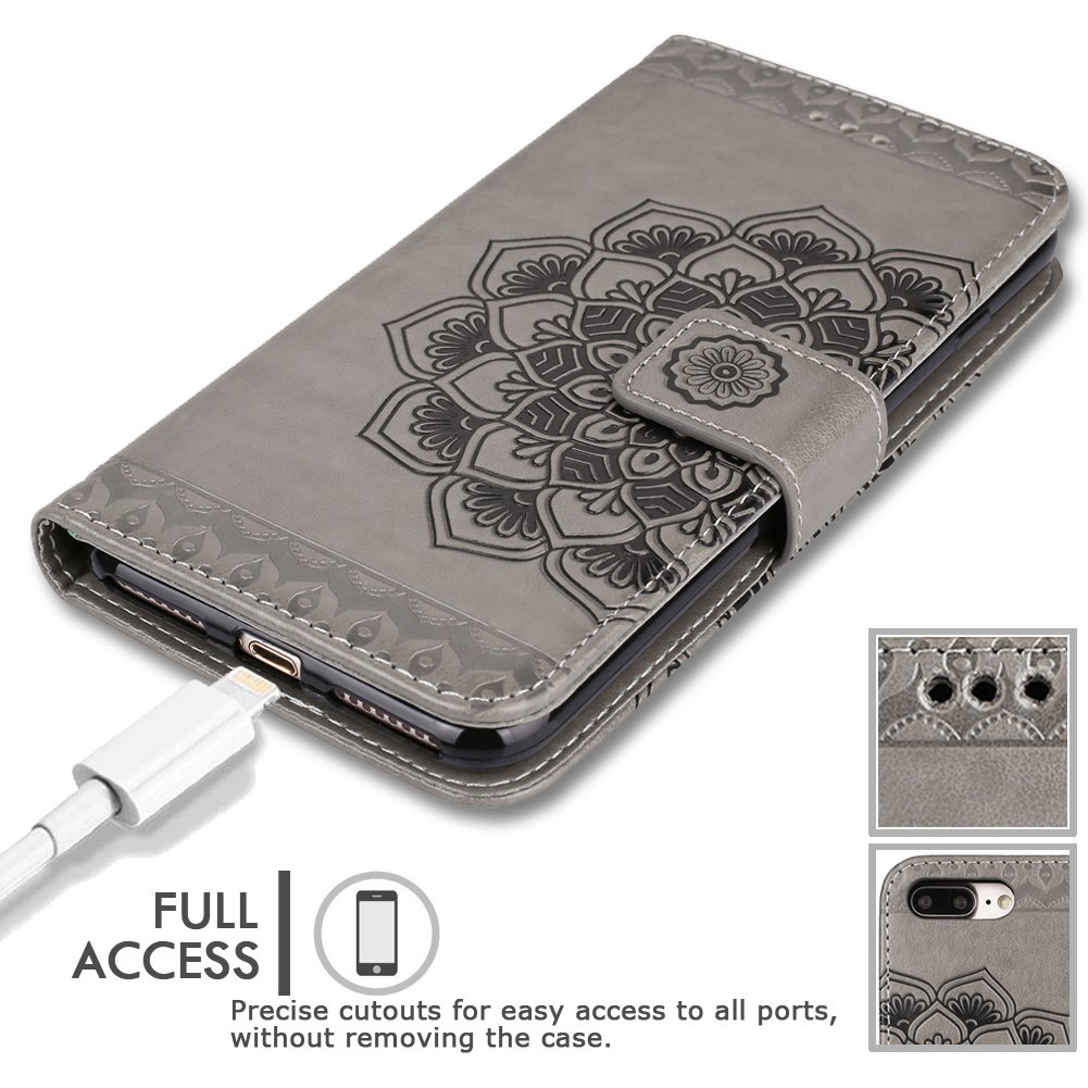 iPhone 8 Plus Case,iPhone 7 Plus Flip Embossed Leather Wallet Cases with Protective Detachable Slim Case Fit Car Mount,CASEOWL Mandala Flower Design with Card Slots, Strap for iPhone 7/8 Plus[Gray] by CASEOWL (Image #7)