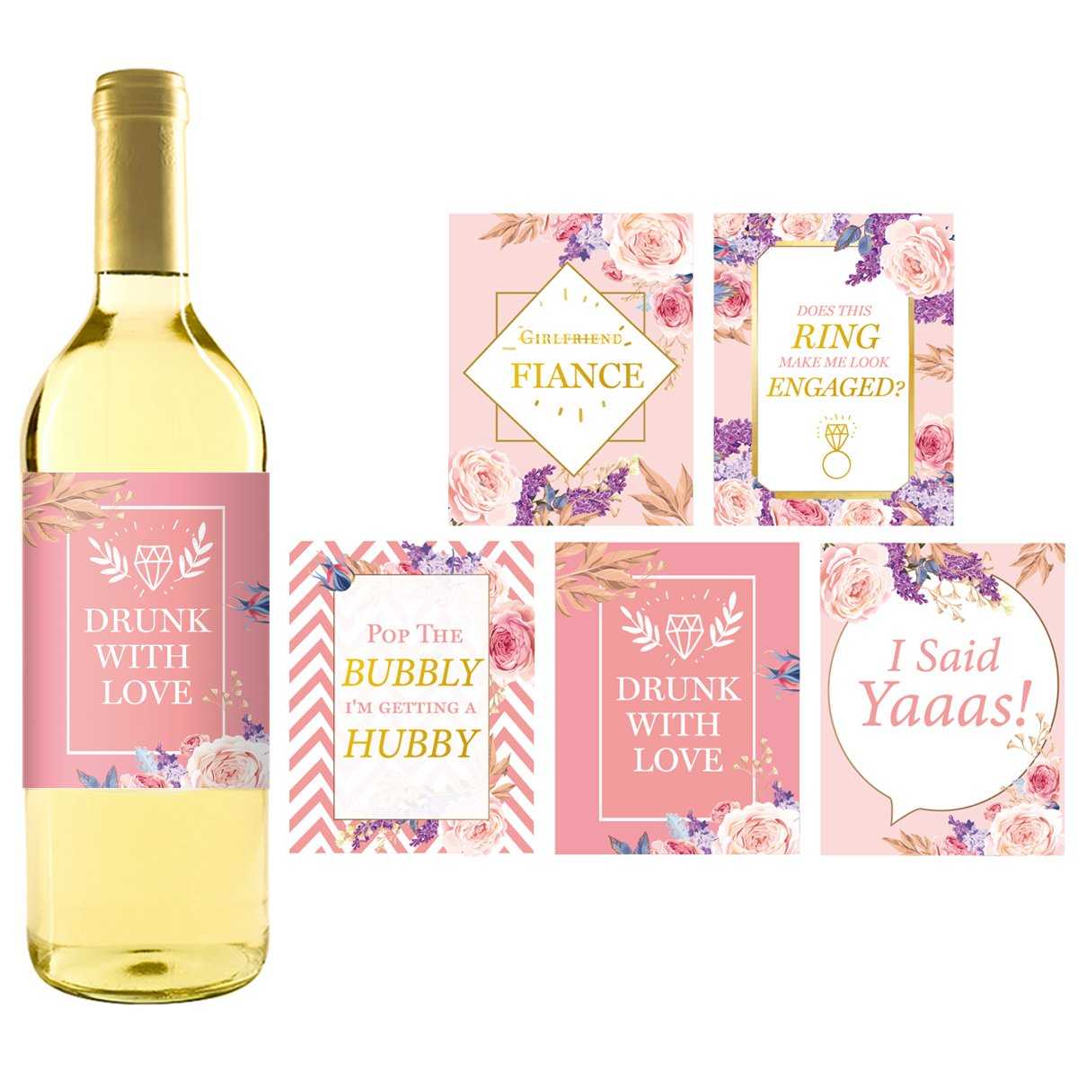 Amazon.com | 5 Engagement Party Gift Wine Labels Stickers, Cute Pink ...