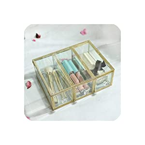 Glass Transparent Makeup Organizer Lipstick Cosmetic Storage Box Make Up Organizer Desktop Drawers Organizer Girl Gift,03