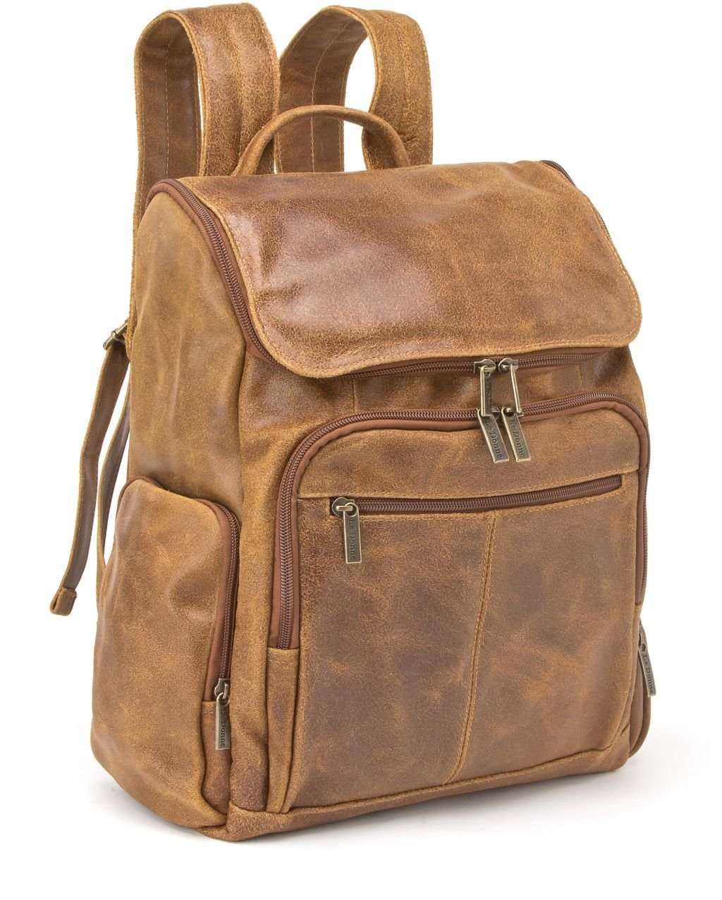 Le Donne Distressed Leather Laptop Backpack, 15.4'' Computer Bag in Tan by Le Donne