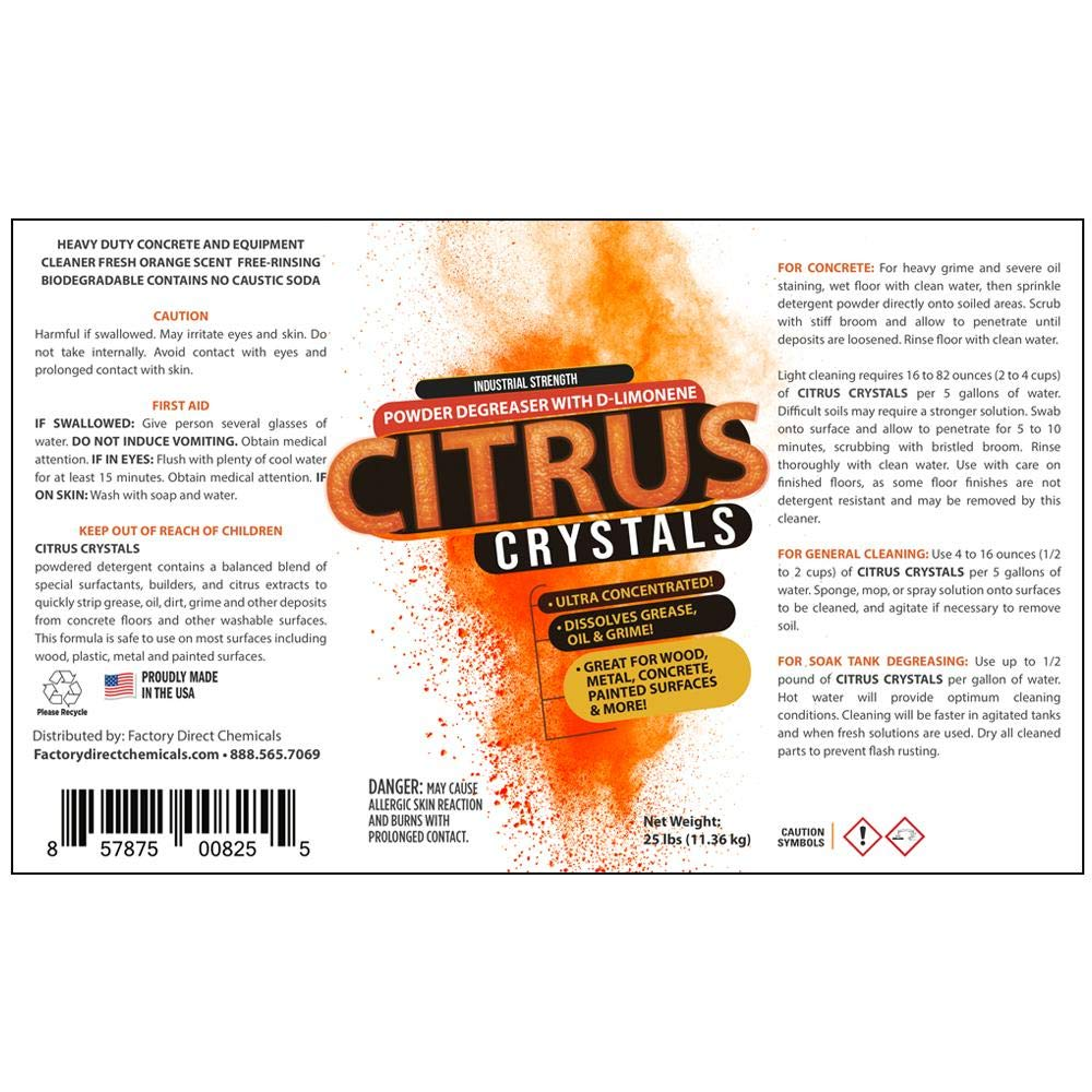 Citrus Crystals Powdered Orange Cleaner & Degreaser (50lb Pail) by EcoClean Solutions (Image #2)