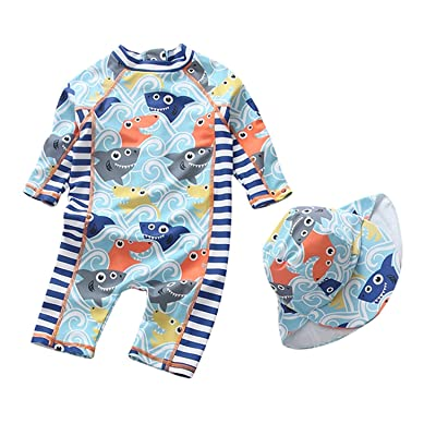 Baby Boy Long Sleeve Swimsuit Kids One Piece Swimwear Rash Guard with Hat Sun Protective UPF 50+
