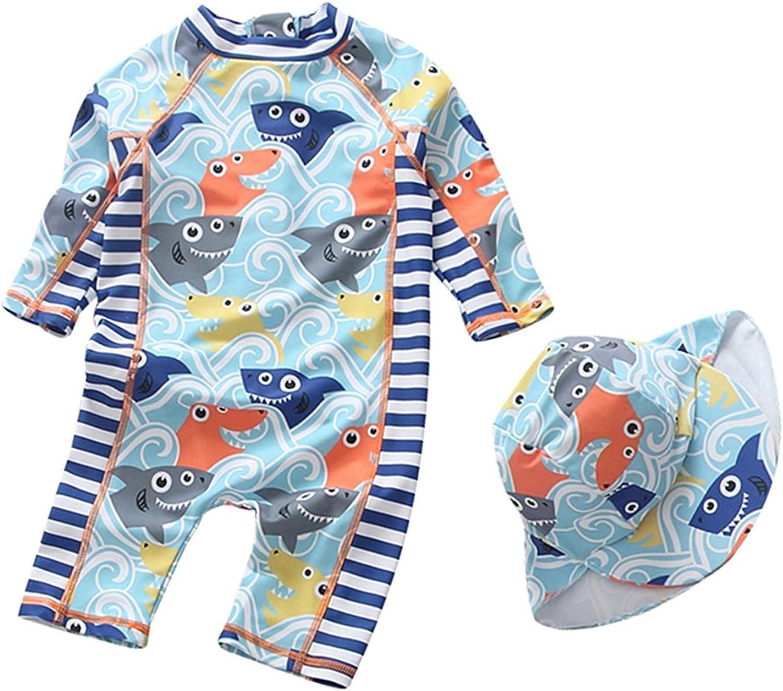 Sywwlov Baby Boy Swimsuit Kids One Piece Shark Rash Guard Sunsuit with Hat UPF 50 UV