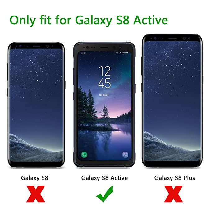 OMOTON Tempered Glass Screen Protector Compatible Samsung Galaxy S8 Active, Not Fit Samsung Galaxy S8/ S8 Plus, 2 Pack