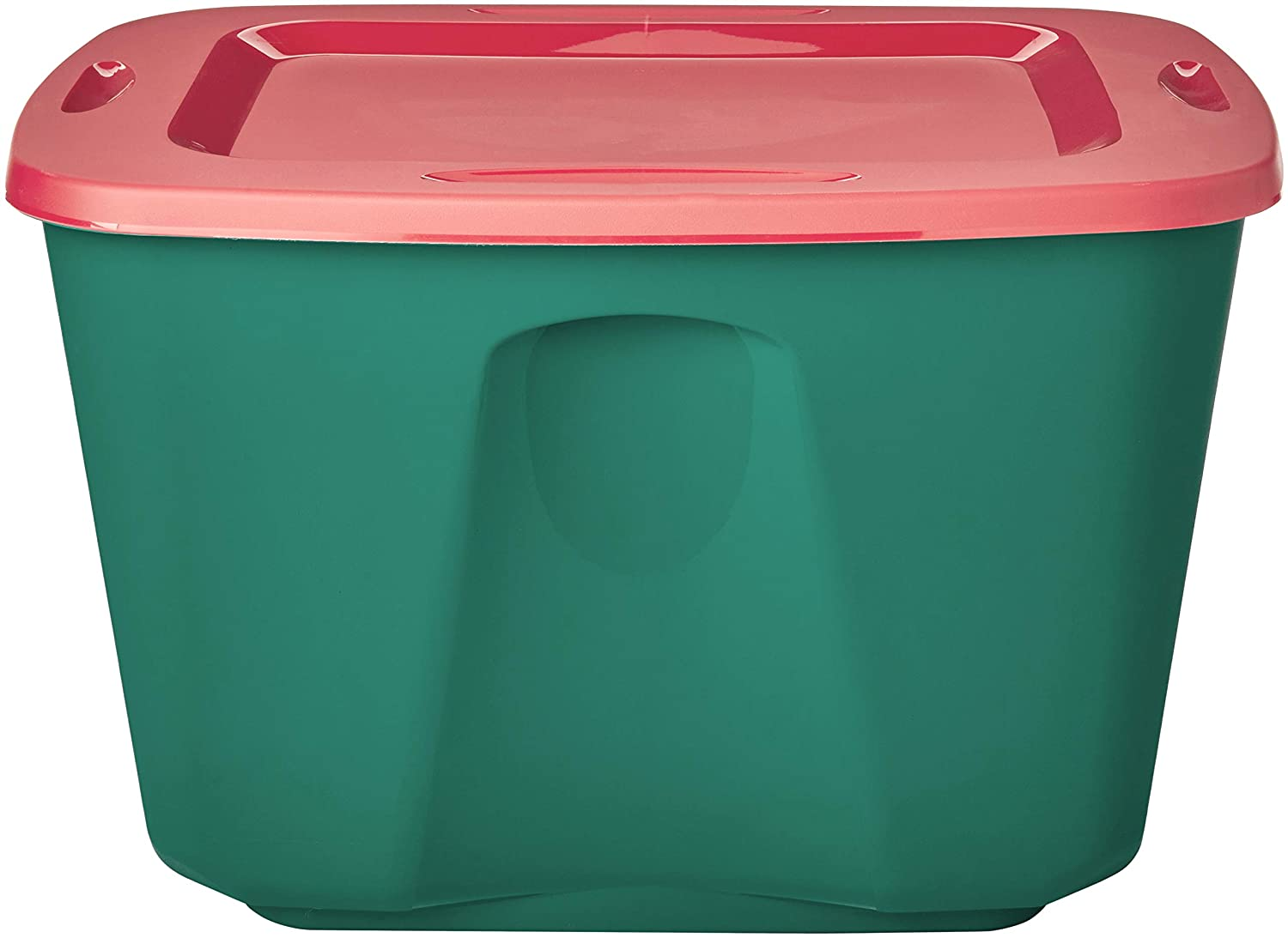 Amazon Com Homz Holiday Plastic Storage Tote Box 18 Gallon Green With Red Lid Stackable 8 Pack Home Kitchen