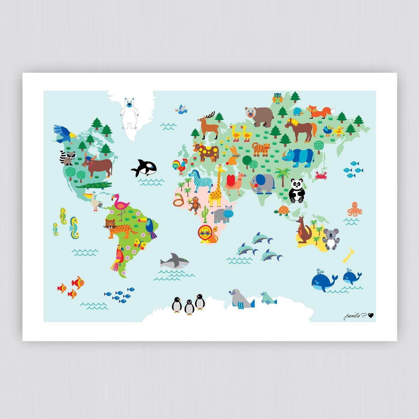 Illustrierte Weltkarte Tiere Tierweltkarte