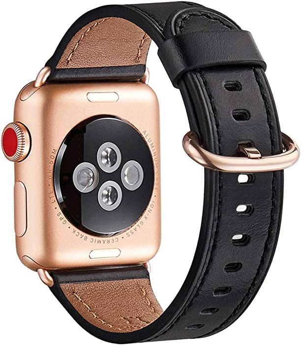 WFEAGL Compatible iWatch band 40mm 38mm, Top Grain Leather Band With Gold Adapter (the Same as Series 5/4/3 With Gold Aluminum Case in Color ) for SE & Series 6/5/4/3/2/1/SE (Black Band+RoseGold Adapter)