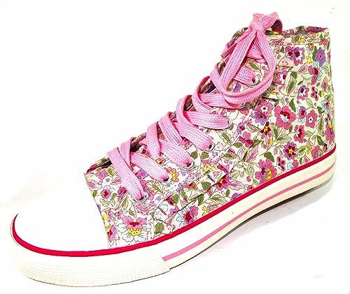 Indigo - Zapatillas de caña alta de lona niña, color beige, talla 35: Amazon.es: Zapatos y complementos