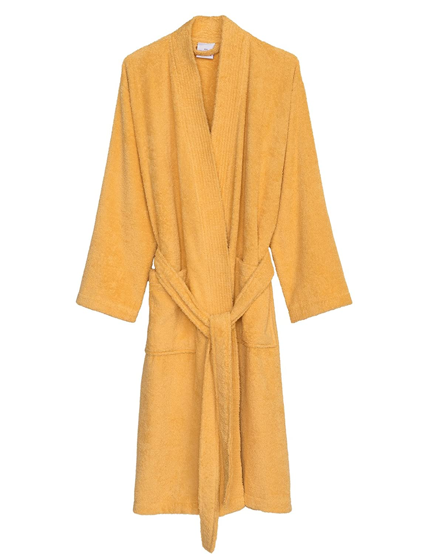 golden Cream TowelSelections Turkish Cotton Robe Kimono Collar Terry Bathrobe Made in Turkey