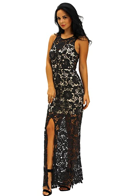 New Ladies Sheer espalda negro & Beige Crochet Floral Encaje Largo ...