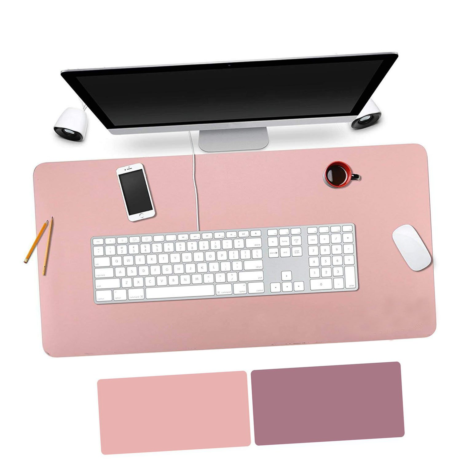 OuTera Leather Desk Pad Waterproof PU Laptop Writing Mat for Office and Home - 35.4''x15.8'' (Pink & Purple)